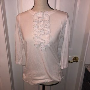 Gap blouse white M ruffle front